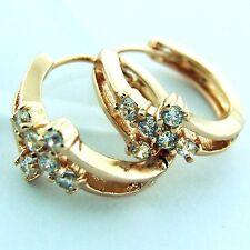 HUGGIE HOOP EARRINGS 18K ROSE G/F GOLD DIAMOND SIMULATED VINTAGE DESIGN FS3AN256