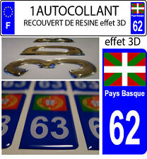 1 sticker plaque immatriculation auto DOMING 3D RESINE DRAPEAU PAYS BASQUE 62