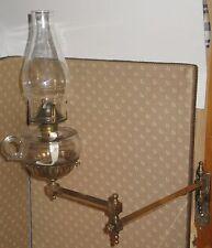 ANTIQUE BRASS 2 ARM SWIVEL WALL LAMP BRACKET FRAME w/FINGER FONT #1 COLLAR 1880