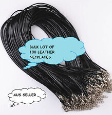 100 FAUX LEATHER NECKLACES WITH LOBSTER CLASP + EXTENSION CHAIN 50CM AUS SELLER