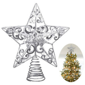 UNOMOR Arbre de Noël Star Treetop Décors Cime étoile avec Poudre de Paillettes