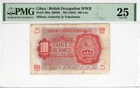 Libya Military Authority 1943 100 Lire PMG Banknote VF 25 WWII M6a British Occup