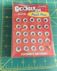 New!! Googly Eye Push Pins set of 25 Novelty thumb tacks great for photos & more