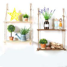 Rustic Solid Wood Rope Hanging Wall Shelf Vintage Storage Floating display Shelf