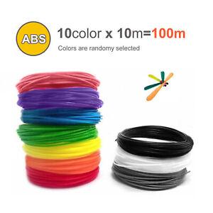 10pcs 3D Printer Filament ABS 1.75mm, 10 Colours -10m Lengths Multiple Color
