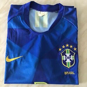 Men's Nike Brazil G.Jesus Russia 2018 World Cup 5 stars logo blue t-shirt M