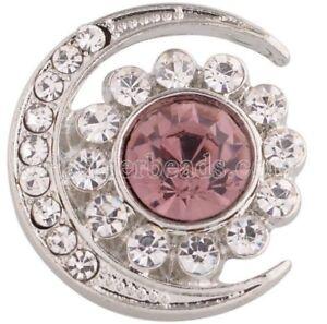 Silver Purple Rhinestone Moon Stars Sun 20mm Snap Charm Jewelry For Ginger Snaps