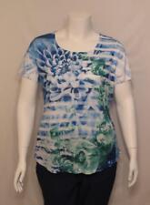 New Women Plus Size Style & Co Printed Rhinestone Top Blouse Shirt 1X 7729
