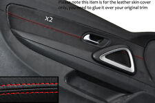 RED STITCHING 2X FRONT DOOR CARD TRIM LEATHER COVERS FITS VW SCIROCCO 08-14