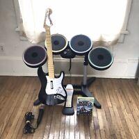 XBOX 360 Rock Band 2 Wireless Bundle/Set/Lot Drums, Pedal, Guitar, & Microphone