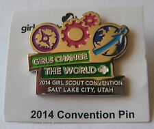 """Girl Scout 2014 CONVENTION PIN Salt Lake City Utah """"Change The World"""" Button"""