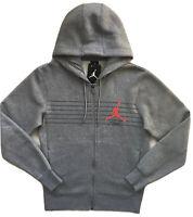 NIKE AIR JORDAN Flight Mens Full Zip Fleece Hoodie Sweatshirt Grey 930523 NWT