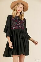 Umgee Bohemian Floral Embroidered Ruffled Sleeve Dress Size Small Medium