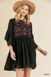 Umgee Bohemian Floral Embroidered Ruffled Sleeve Dress
