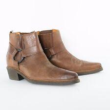 True Vintage Brown Real Leather Cowboy Boots Festival Men's UK 7 EU 41 US 8