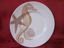 222 FIFTH COASTAL LIFE GOLD SEAHORSE  NAUTICAL MARINE SEASHELL SALAD PLATES S/4