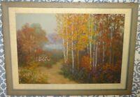 Vintage Margaret (Mattie) K. Toennigs Landscape Oil Painting Early IL WI Artist