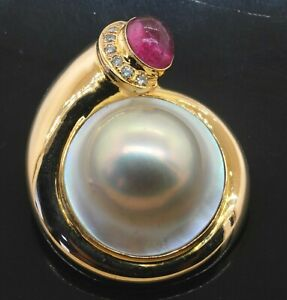 Heavy 14K YG 3.12CT diamond Pink tourmaline & 19.5mm mabe pearl brooch