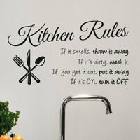 Vinyl Kitchen Wall Decal Rules Room Decor Art Quote Stickers Removable Mural DIY