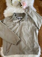 Columbia Men's Size Large Beige Tan Bomber Zip Up Lightweight Vented Jacket