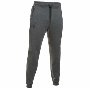 Mens Grey Under Armour Rival Cotton Jogger Training Gym Jogging Bottoms Small