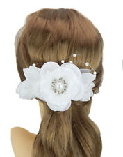 Ella Jonte Hair Comb White Silver Rhinestone Flower Pearls Wedding