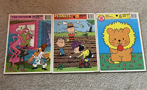Vintage Golden Frame-Tray Puzzles (3) Pink Panther, Peanuts, Little Beasties