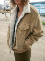 Levi's Men's 46-XL Vintage 1960s Tan Velvet Sherpa Lined Trucker Jacket