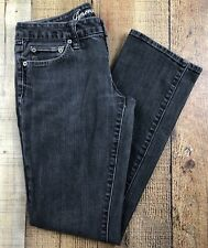 American Eagle 77 Straight Faded Black Low Rise Jeans Size 6 29x30 Rise 7""