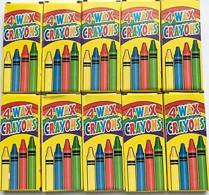 4 Coloured Wax Crayons 10 PACKS Kids Party Loot Bag Fillers For Colouring Book