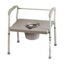 Large Bedside Toilet Steel Commode Chair Portable Steel Safety Medical Bathroom