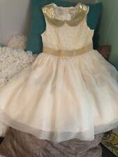 Girl's Dress Brand New Size 8 Beautfiul White and Gold
