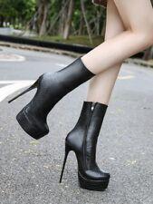 Sexy Women Stiletto Super High Heel Side Zip Platform Mid Calf Boots Club Shoes