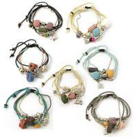 Adjustable Multi Strand Beaded Waxed Cotton Cord Lava Oil Diffuser Bracelet(s)