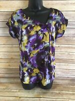 Michael Kors Short Sleeve Shirt Blouse Size Small Womens Purple Floral S/S Top