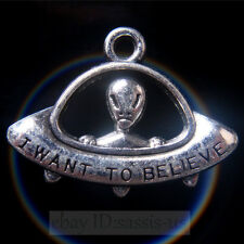 10 pcs 31mm I Want To Believe ET Pendant Charms Tibetan Silver DIY Jewelry A7817