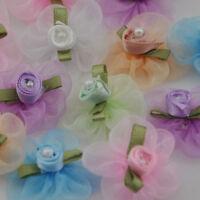 20pcs Organza Ribbon Flower W/Rose Appliques Craft Wedding B37 U pick