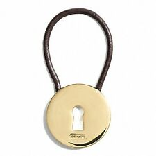 NWT COACH GOLD LOCK AND LEATHER CORD KEY RING F68755