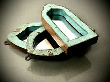 VINTAGE ARCHED INDIAN MIRRORS. 3 X SMALL TEMPLE MIRRORS. DISTRESSED TURQUOISE.
