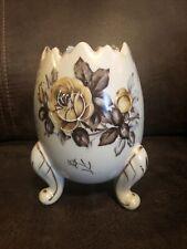 Vintage Napcoware Cracked Egg Vase Floral Egg Planter Brown Gold Rose 3199
