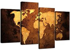 Canvas Pictures of a World Map in Brown and Tan for Your Bedroom - Large Vintage