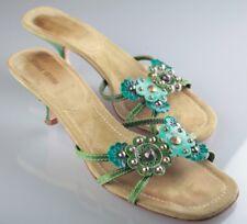 Miu Miu Sandaletten Sandalen Sandalette 37,5 grün türkis petrol Blumen Nieten