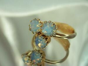 Pretty Adjustable Mellow Gold Tone Very Nice AB Rhinestone Cluster Ring  777o9
