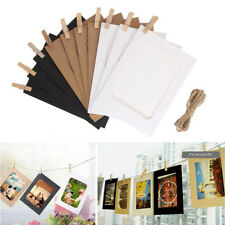 10 Set DIY Home Wall Picture Hanging Decor Paper Photo Frame Album Rope Clip Set Natural