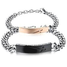 2pcs His Hers Matching Stainless Steel Cross Bracelet Bangle Valentine Love Gift