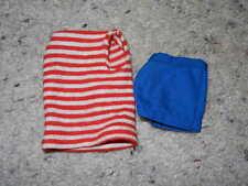 1962 VINTAGE ORIGINAL BARBIE RED STRIPED TEE SHIRT & BLUE SHORTS