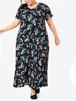 Woman Within ladies dress plus size 24/26 40/42 44 black floral paisley v-neck