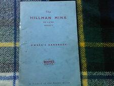 Hillman Minx De Luxe Series V 5 Owners Drivers Handbook Instruction Manual Book