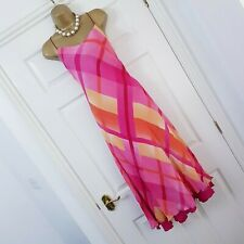 Kaleidoscope Dress Size 14 Pink Orange Check Ballgown Evening Wedding Chiffon