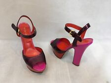 SERGIO ROSSI PURPLE & PINK PATENT LEATHER PLATFORM OPEN TOE HEELS SIZE UK3/US5